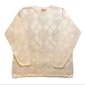 Jaclyn Smith Off-White Crochet Sweater Size Large